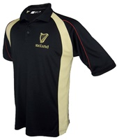 Image for Black and Cream Irish Harp Polo Shirt