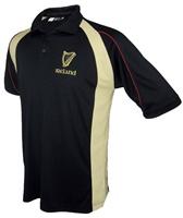 Image for Black and Cream Irish Harp Polo Shirt