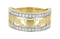 Image for 14kt Yellow Gold Diamond Set Claddagh Ring