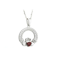 Image for Claddagh Birthstone Pendant Sterling Silver