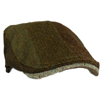 Hanna Hat Striped Patchwork Donegal Touring Cap, Brown