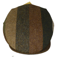 Image for Hanna Hat Striped Tweed Patchwork Vintage Cap, Brown