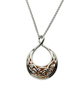 Image for Keith Jack Celtic Window To The Soul Pendant Teardrop Oval Sterling Silver and 24K Gold