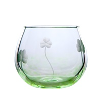 Image for Irish Handmade Glass Shamrock T-Light Votive