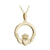 Image for Solvar 14K Gold Large Claddagh Pendant