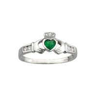 Image for Sterling Silver Claddagh Ring-Green Heart/CZ Shoulders