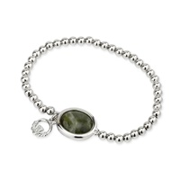 Image for Solvar Rhodium Claddagh Marble Bead Bracelet