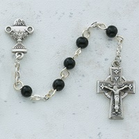 Image for Black Celtic Communion Rosary 5mm Sterling Silver