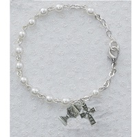 Image for Pearl Celtic Cross and Chalice Bracelet 6.5in