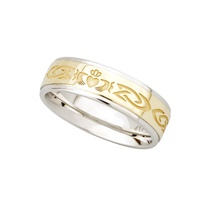 Image for 10K and Sterling Silver Claddagh Band 6mm