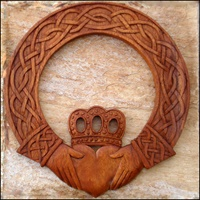 Image for Blue Frogs Handcarved Wooden Claddagh