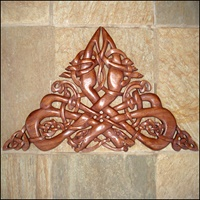 Image for Blue Frogs Handcarved Wooden Celtic Motif