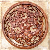 Image for Blue Frogs Handcarved Wooden Three Dragons Knot