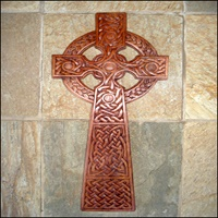 Image for Blue Frogs CR 10 Handcarved Wooden Celtic Cross
