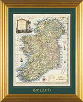 OBrien Ancient Map of Ireland Mount Matt Framed,