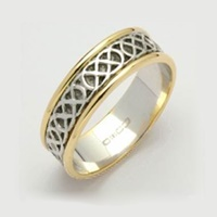 Image for Ladies 14K Two Toned Gold Sheelin White Narrow Celtic Band With Edges