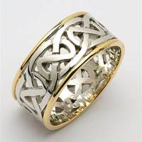 Image for Ladies 14K Two-Toned Gold Heavy Pierced Celtic Wedding Band