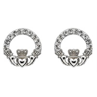 Image for Claddagh Stud Earrings Adorned With Swarovski Crystals