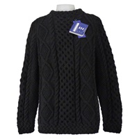 Image for Hand Knitted Irish Celtic Weave Pull Over Wool Sweater Black