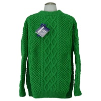 Image for Hand Knitted Green Irish Crew Wool Sweater