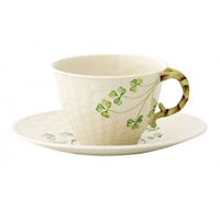 Image for Belleek China Shamrock Teacup and Saucer Set