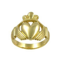 Image for Extra Large Gold Claddagh Ring with Diamond