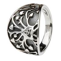 Image for Shanore Sterling Silver Tree of Life Trinity Knot Ring