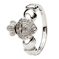 Image for Shanore 14K White Gold Ladies Claddagh Ring Encrusted with Diamonds