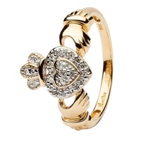 Image for Shanore 14K Yellow Gold Ladies Claddagh Ring Encrusted with Diamonds
