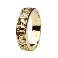 Image for Shanore 14K Yellow Gold Claddagh Wedding Band Diamond Set with Celtic Knotwork, Size 11