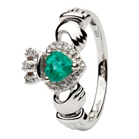 Image for 14K White Gold Empress Claddagh with Emerald and Diamond