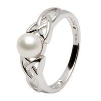 Image for Shanore Silver Celtic Trinity Knot Pearl Ring