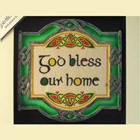 Image for Royal Tara God Bless Our Home Embroidered Plaque