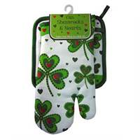 Image for Royal Tara Shamrocks and Hearts Oven Mitt and Pot Holder