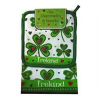 Royal Tara Shamrocks and Hearts Tea Towel and Pot Holder