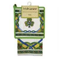 Image for Royal Tara Irish Weave Emblem Tea Towel and Shamrock Pot Holder