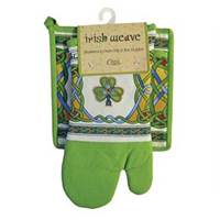 Royal Tara Irish Weave Shamrock Oven Mitt and Pot Holder