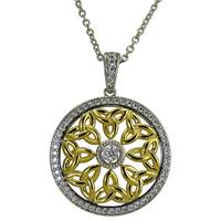 Image for Two Tone CZ and Trinity Round Pendant