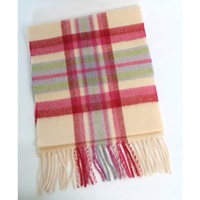 Image for Extra Long Lambswool Scarf - Winter White, Berry, Lilac And Green