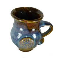 Image for Colm De Ris Irish Pottery Round Mug Blue (BA2)