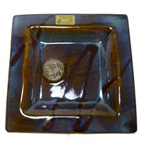Image for Colm De Ris Irish Pottery, Square Plate Small Blue (D1)