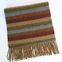 Image for Lambswool Scarf - Green, Brown, Beige, Purple And Blue Stripe