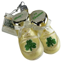 Image for Glass Irish Baby Shoe First Christmas Ornament, White