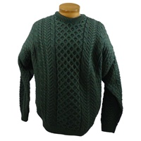 Image for Traditional Irish Crewneck Aran Sweater, Connemara Green