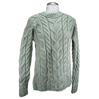 Image for Aran Woollen Mills Ladies Aran Stitch Fashion Irish Sweater, Seafoam