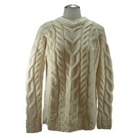 Image for Aran Woollen Mills Ladies Aran Stitch Fashion Irish Sweater, White