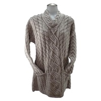 Image for Aran Woollen Mills Ladies Crossover V-neck Irish Fashion Sweater, Toast