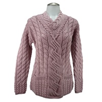 Image for Ladies Crossover V-neck Irish Fashion Sweater,Rose