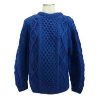 Image for Hand Knitted Irish Crew Neck Pullover Sweater Bright Blue