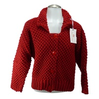 Image for Handknit Vintage Blackberry Stitch Jacket Red